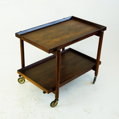 Scandinavian Modern Rosewood Serving Trolley by Poul Hundevad
