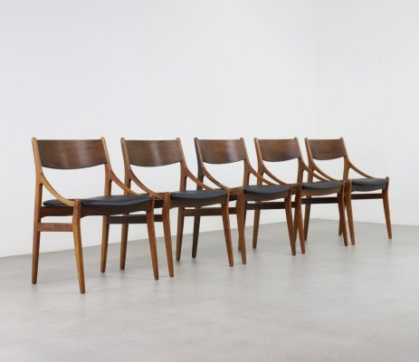 Set of 5 rosewood dining chairs by Vestervig Eriksen, Denmark 1960s