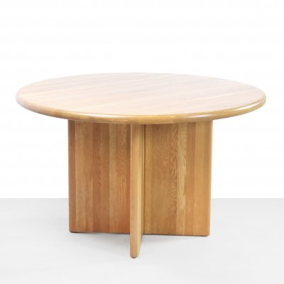 Round solid oak wooden dining room table, 1960s
