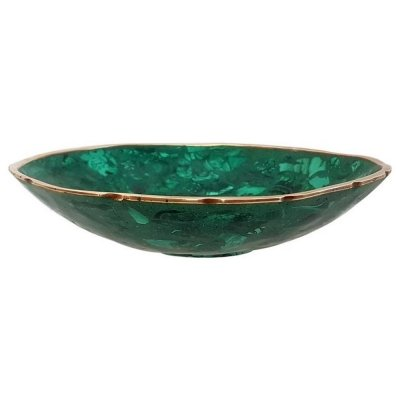 Round Malachite Bowl with Brass Rim