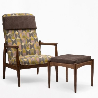 GFM-64 armchair with footstool by E. Homa, 1960s