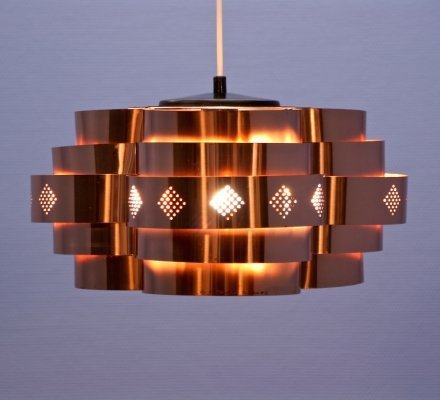 Danish hanging lamp in copper by Werner Schou for Coronell Elektro, 1960s