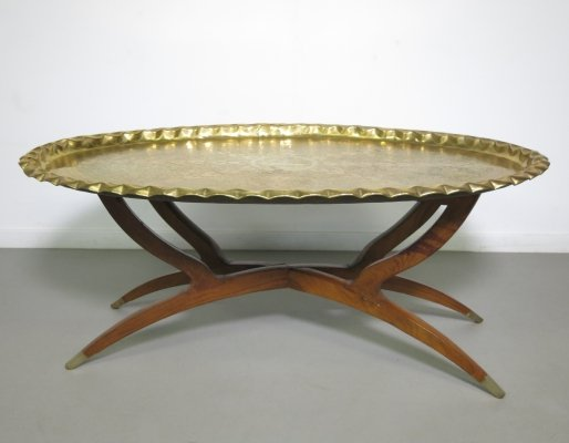 Moroccan brass tray table, ca 1950