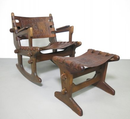 Solid teakwood rocking chair with ottoman by Angel I. Pazmino for Muebles de Estilo, ca 1970