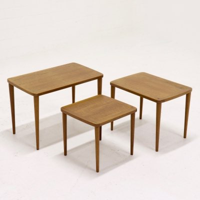 Set of 3 Mid-Century Teak Nesting Tables, Danish Design 1960s