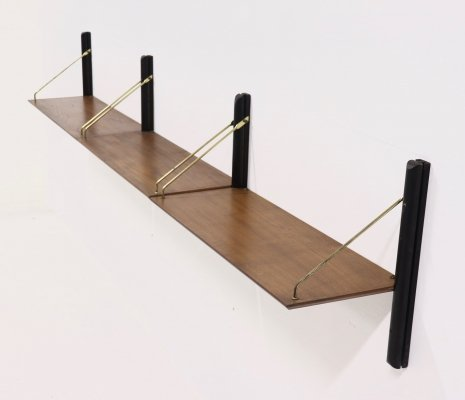 Rare wall mounted shelving unit by Louis van Teeffelen for Wébé, 1950s