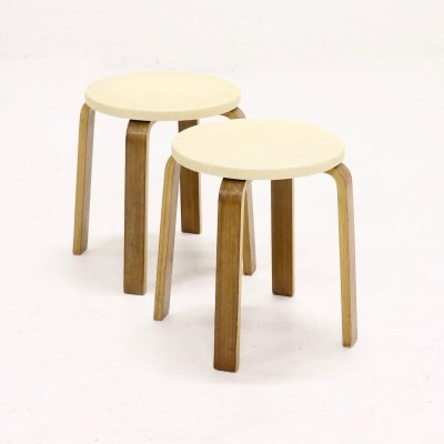 Set of 2 Plywood Stools by Cor Alons for Den Boer Gouda, 1950s