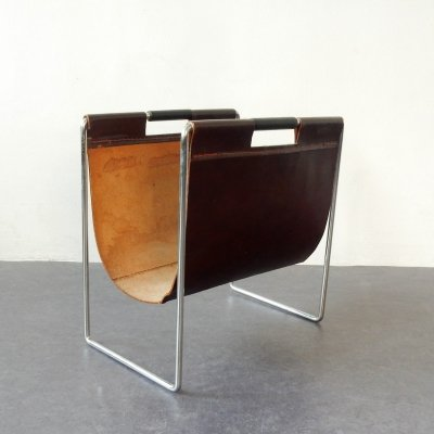 2 x Leather magazine holder by Brabantia, The Netherlands 1960's