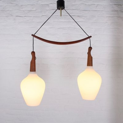 Drop opaline Scandinavian pendant by Uno & Östen Kristiansson for Luxus
