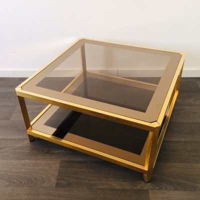 24kt Gilded Square smoked glass Coffee Table by Fedam, 1970's