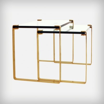 Set of 2 Gold & Glass 'Klassik 1022' Nesting Tables by Peter Draenert, 1960s