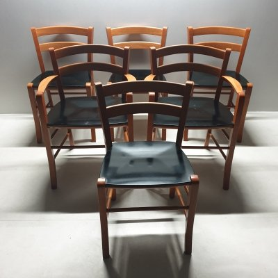 Set of 6 Marocca dining chairs by Vico Magistretti for De Padova, 1990s