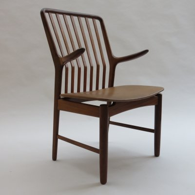 Midcentury Danish chair with leather seat by Svend Madsen, 1960s