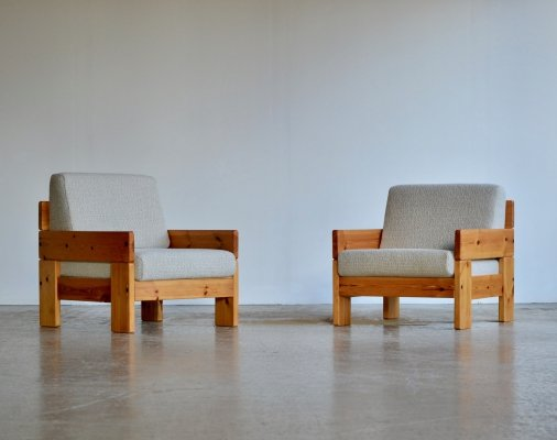 Pair of Pine armchairs, 1970s