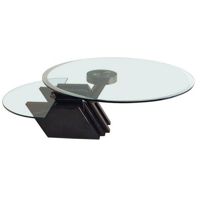 Italian Swivel Coffee Table in Black Marble & Glass