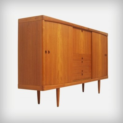 Teak Highboard With Sliding Doors by Henry W. Klein for Bramin Møbler, 1960s