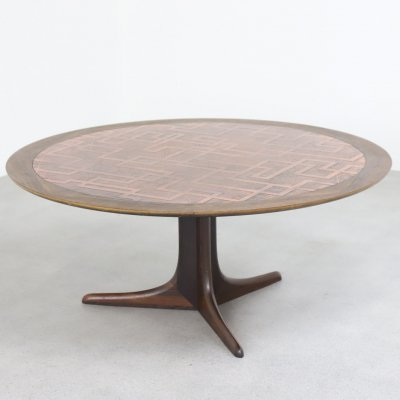 Danish coffee table in rosewood & copper, 1960s