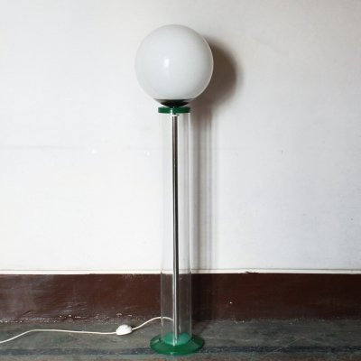 Vintage green & white floor lamp, 1970s