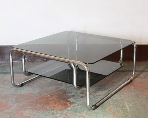 Vintage chromed coffee table with black glass top, 1970s