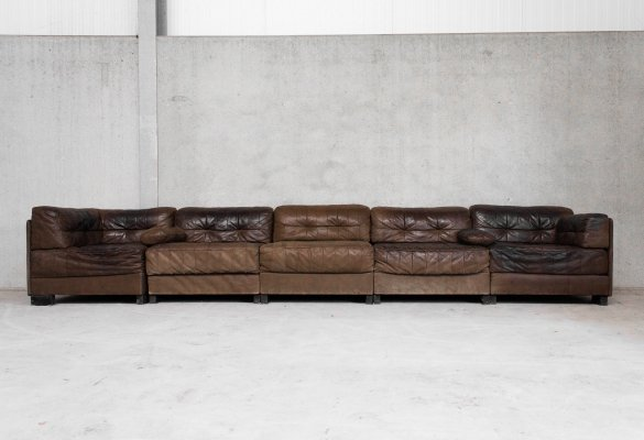 Brown Patchwork Leather Modular Sofa