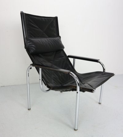 Chrome & Leather Easy Chair by Hans Eichenberger for Strassle, Switzerland 1978