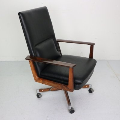 Rosewood & Leather Executive Office Chair by Arne Vodder for Sibast, Denmark 1960
