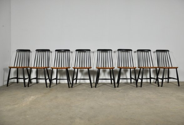 Set of 8 Swedish Slat-Back Chairs from Nesto, 1960s
