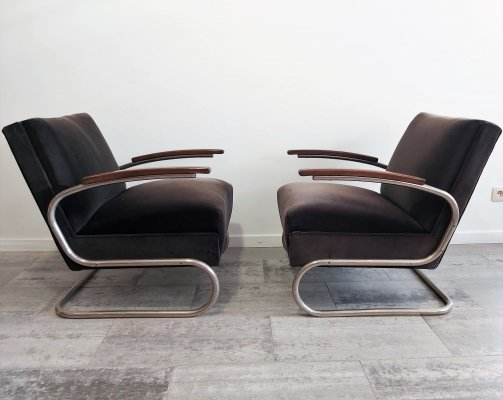 Pair of Cantilever S-411 Armchairs by W. H. Gispen for Mücke Melder, 1930s