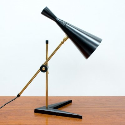 Black Desk Lamp by G A Scott for Maclamp, 1950s