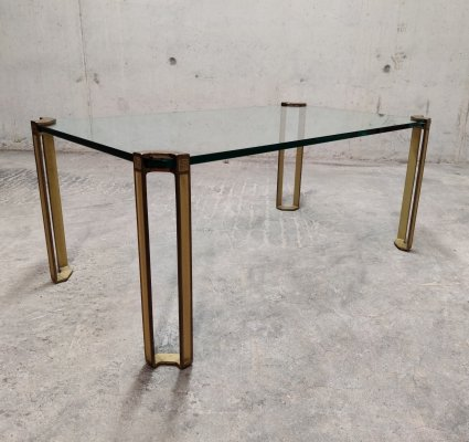 Peter Ghyczy Glass & Cast bronze rectangular coffee table, 1970s