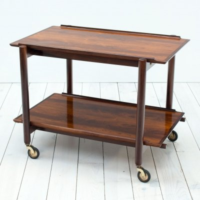 Danish Rosewood Drinks/Serving Trolley by Poul Hundevad, 1960s