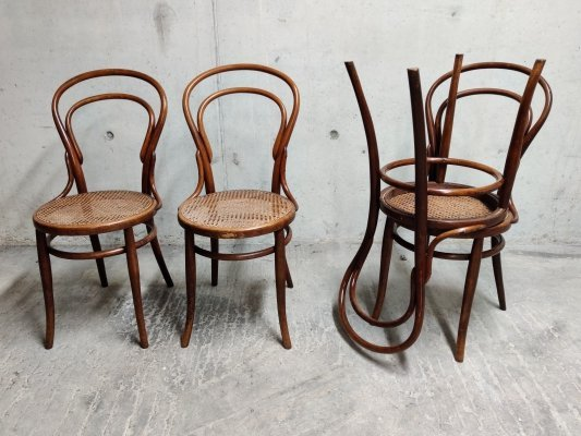 Set of 4 Thonet no. 14 Dining Chairs by J & J Kohn, 1950s
