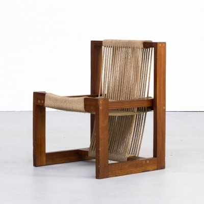 50s Rope chair in pine wood