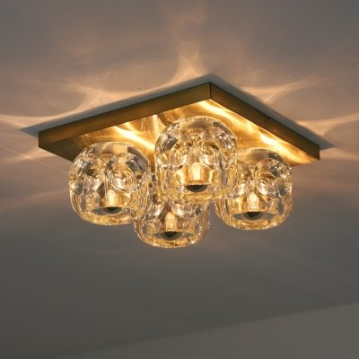 Brass & glass ceiling or wall light by Peill & Putzler, 1970s