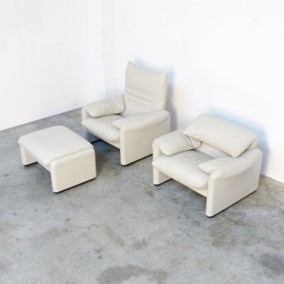 Pair of Maralunga Armchairs & Ottoman by Vico Magistretti for Cassina