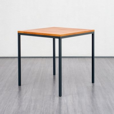 Mid Century Vintage Square Table With Teak Top