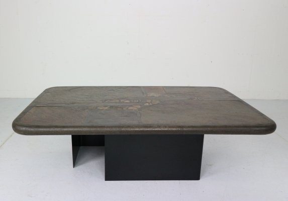 Brutalist Paul Kingma One-Off Artwork Stone & Brass Coffee Table, Netherlands 1990