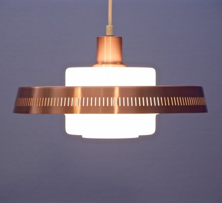 Danish hanging lamp in pink copper & opaline glass, 1960s
