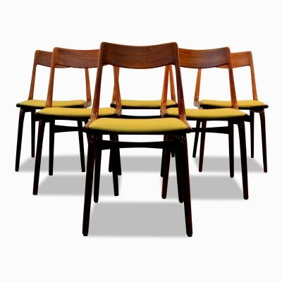 Set of 6 Vintage Danish Alfred Christensen teak 'Boomerang' dining chairs