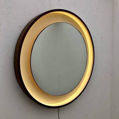 Large vintage round mirror with lighting, 1970s