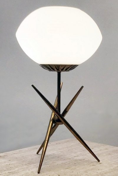 Brass And Opaline Table Lamp