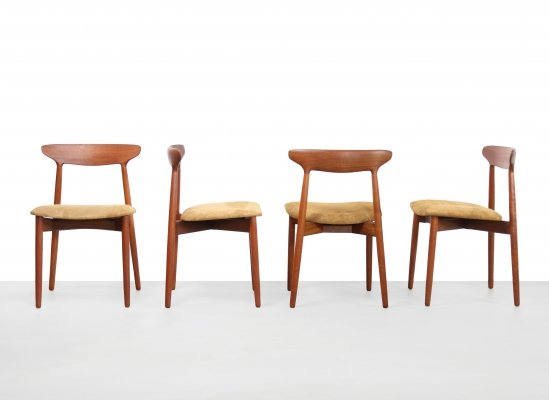 Set Harry Ostergaard Model 59 design dining room chairs in teak & leather