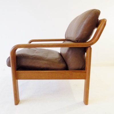 Danish Easy chair in brown leather & teak by L. Olsen & Son