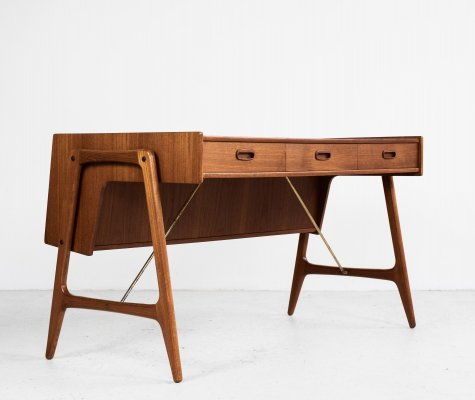 Midcentury Danish desk in teak & brass by Arne Wahl Iversen, 1960s