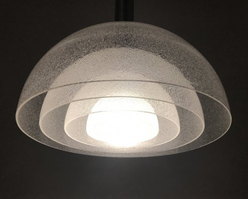 Large four-layer Murano Pulegoso glass pendant lamp by Carlo Nason for Mazzega