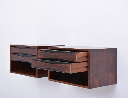 Pair of Danish Mid-Century Rosewood wall mounted night tables, 1960s