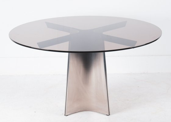 Brushed Steel Glass Dining Table by Luigi Saccardo for Maison Jansen, 1970s