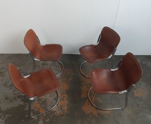 Set of 4 Willy Rizzo dining chairs, 1960s