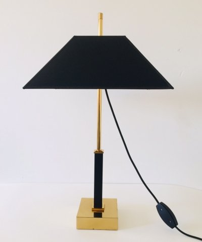 Deknudt Design Square Brass Table lamp for Maison Jansen, 1980's