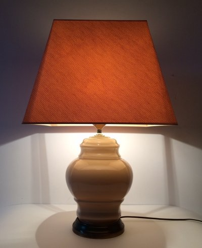 Large Beige Glass with brass table lamp, 1970's